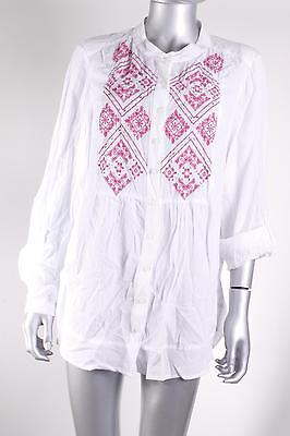 $56 Style & Co. Women`s Embroidered Button-Down Blouse Plus 0X White/Pink NEW