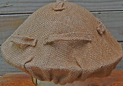 WW2  Brodie STEEL HELMET Sacking HESSIAN Camouflage Cover VERY RARE & GENUINE