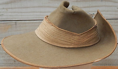 Australian Army DIGGER'S SLOUCH HAT WW2 era Hat Fur Felt GENUINE