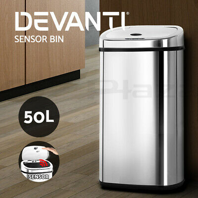50L Stainless Steel Bin Rubbish Motion Sensor Waste Automatic Home Trash Kitchen