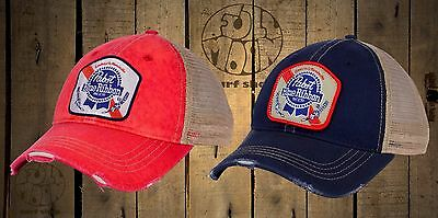 New Pabst Blue Ribbon Brewing Beer Trucker Vintage Relaxed Snapback Cap Hat 50f878086ed