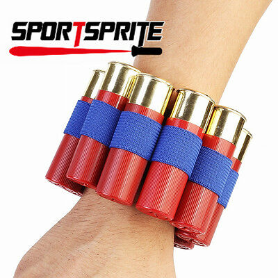 Tactical Wrist Band 8 Shell Rifle Ammo Cartridges Holder Bullet Pouch Carrier
