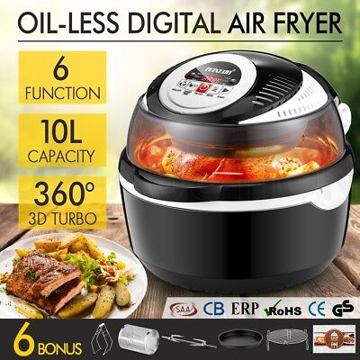 6 Function Digital 10L Air Fryer Low Oil Rotisserie Convection Turbo Oven Cooker