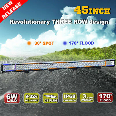 45inch 612W Philips LED Light Bar Spot Flood Combo Offroad Work Driving 4WD
