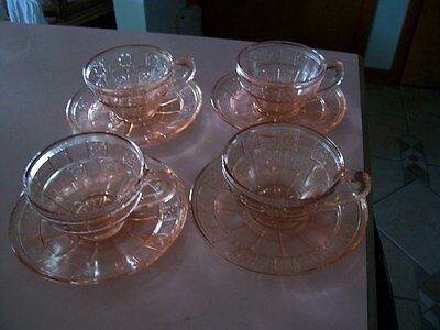 Doric pink cups and saucers (4 sets) jeannette