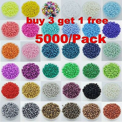 5000Pcs 2mm Multi Colorful DIY Czech Glass Seed Spacer Beads Jewelry Making
