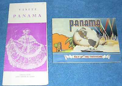 Panama Key of the Two Oceans 1940 Curt Teich & Co & Visite Panama Pamphlet