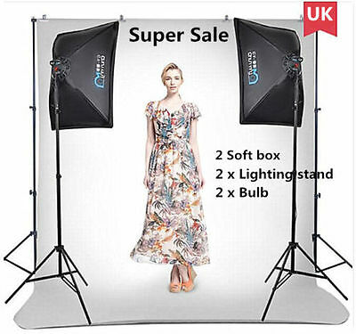 Continuous 80W Lighting Kit 50 x 70cm Softbox Photo Studio Set Photography Stand
