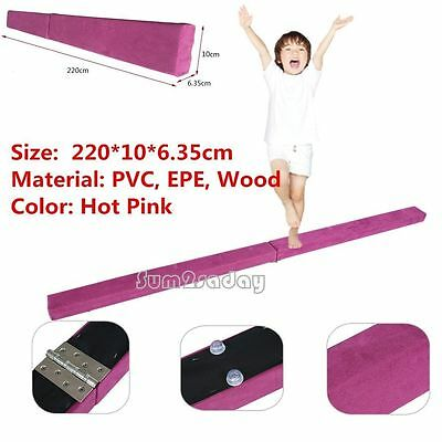 Uk 7Ft Gymnastics Folding Training Balance Beam Hot Pink Suede