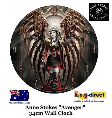 Original Anne Stokes Wall Clock Avenger Steampunk Angel New In Box 34Cm