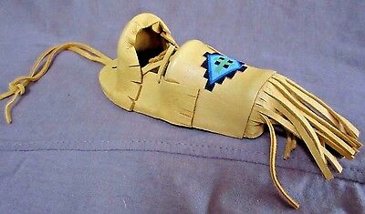 Native Navajo Handmade Leather & Wood Mini Cradle Board Ornament M0053