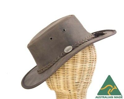 Brown Barmah Leather Australian Outback Hat Made in Australia. Crushable.