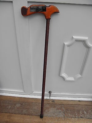 Homemade Defensive Walking Stick Iron Bar Wooden Axe Style Head (Army Ties)
