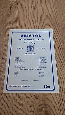 Bristol v Leicester 1982 Rugby Union Programme