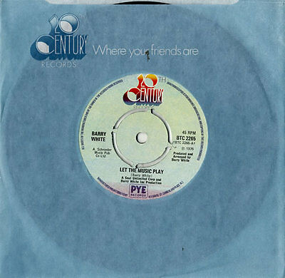 "Let The Music Play - 4pr Barry White UK 7"" vinyl single record BTC2265"