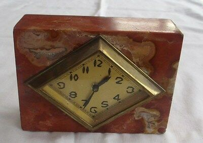 LOVELY ART DECO MANTLE CLOCK IN MARBLE CASE  c1930