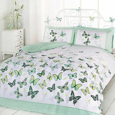 Butterfly Flutter Double Duvet Cover Set With 2X Pillowcases Bedroom Bedding