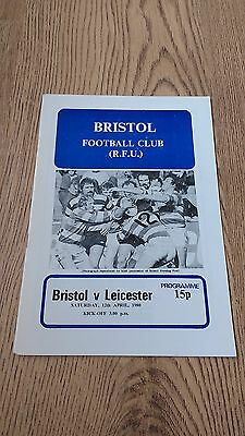Bristol v Leicester April 1980 Rugby Union Programme
