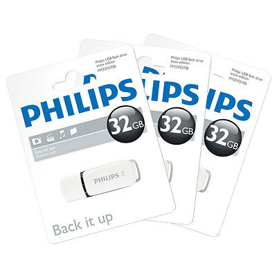 3x 32GB Philips Snow Series USB 2.0 Flash Drive USB Memory Stick 32GB