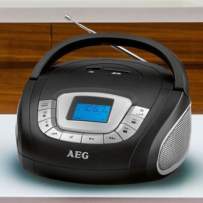 AEG Stereo Anlage Radio CD Player Kinder Zimmer Boombox tragbar USB SD AUX-IN