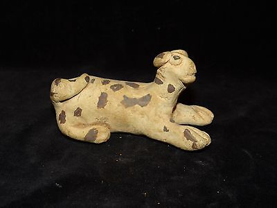 """Antique Chinese tang (618-907) pottery tomb burial figure reclining dog 3.75"""""""