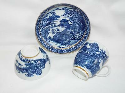 Antique Georgian Caughley trio in chinoiserie pattern,cup,teabowl & saucer,1780