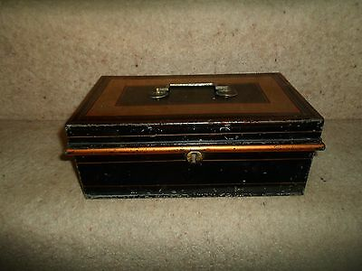 VINTAGE RETRO Quirky Old Cash Tin With Lift Out Coin Tray  NO KEY
