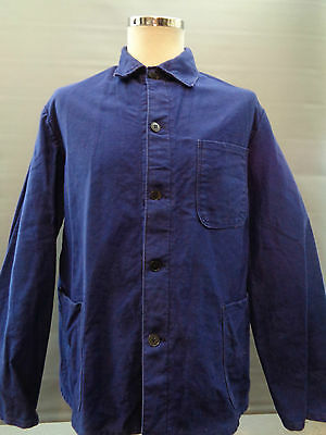 Vtg French cotton moleskin indigo blue worker work chore jacket