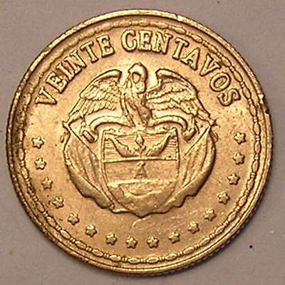 1-Coin from Colombia.   20-Centavos.  1963.