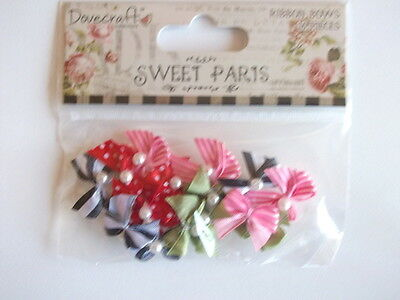 Dovecraft Sweet Paris  Mini Ribbon Bows with Beads - pink stripe red dot  green