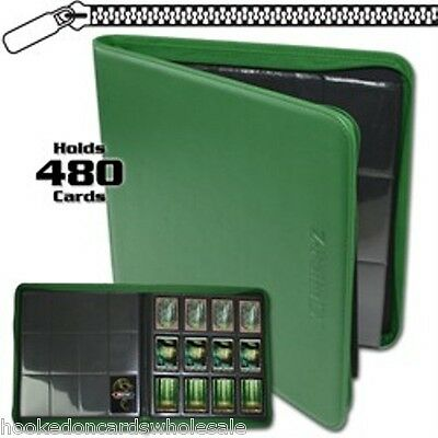 BCW Green Zipper Z-Folio LX Binder Album with 12 Pocket Pages holds 480 Cards