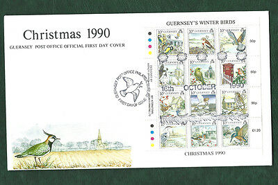 GB Guernsey 1990 Christmas winter birds minisheet on illustrated FDC