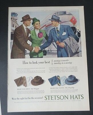 Original Print Ad 1947 STETSON HATS Wear the Right Hat for Occasion