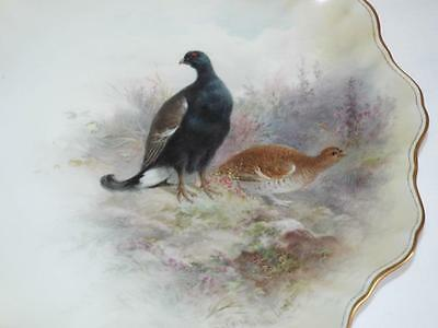 """Antique handpainted Henry Mitchell Doulton cabinet plate """"Black Game"""""""