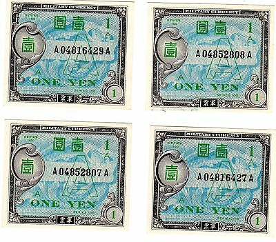 4 Crisp Unc Allied Military Japanese Notes 2 In Consecutive Order P-66 Cat. $200