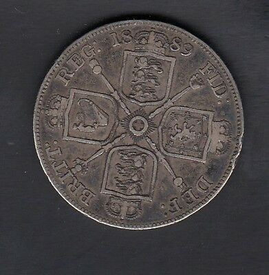 1889 Great Britain Double Florin Silver Coin