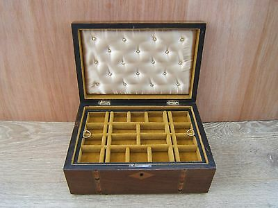 Lovely 19C Inlaid Antique Jewellery Box - Fab Interior