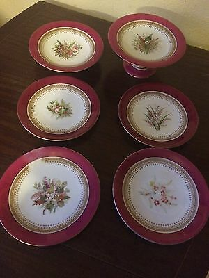Early Royal Worcester Comport/Cake Stand.x2 & 4 Plates Hand Decorat &Gilded 1875