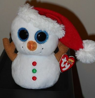 """Ty Beanie Boos - SCOOP the 6"""" Christmas (Holiday) Snowman~ 2016 NEW ~ IN HAND"""