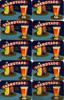 10 COLOURFUL ORIGINAL EARLY SHANDYADE  LABELS - 1930s