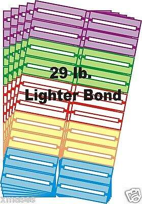 100 BLANK JUKE BOX  TITLE STRIPS (LABELS)  multi color 29 lb   FOR 45s