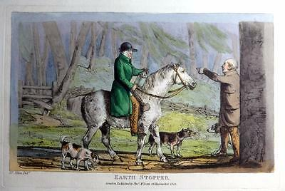 EARTH STOPPER GENUINE AQUATINT BY HENRY ALKEN ORIGINAL HAND COLOUR  c1825