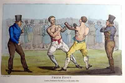 BOXING PRIZE FIGHT GENUINE AQUATINT BY HENRY ALKEN ORIGINAL HAND COLOUR  c1825