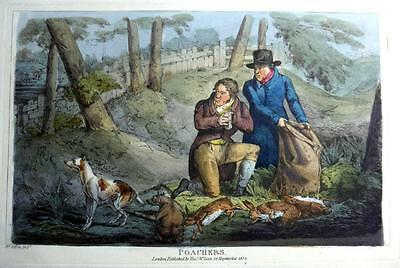 POACHERS  GENUINE AQUATINT BY HENRY ALKEN ORIGINAL HAND COLOUR  c1825