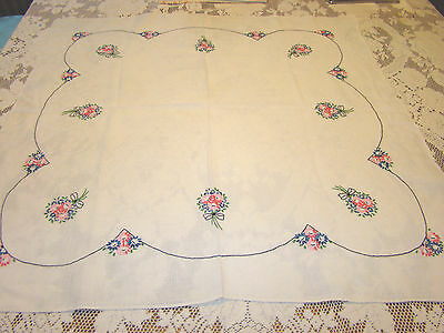 VTG Embroidered FLOWER  WHITE PURE Linen TABLE TOPPER DRESSER SCARF, TABLECLOTH