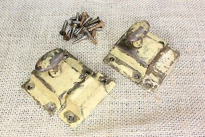 """2 cabinet cupboard latches catches tin oval knob old antique rustic paint 2 1/8"""""""