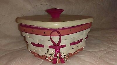 2012 Longaberger Whitewashed And Pink Horizon Of Hope Combo W/lid And Tie-On