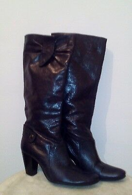 Dolcis Womens Black Patent Leather Knee High Boots Size 5.