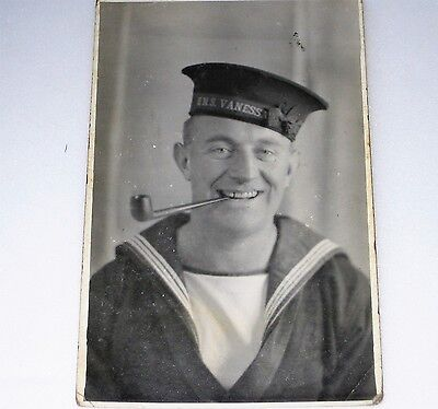 RP Postcard HMS VANESSA Crew Member With Pipe ROYAL NAVY