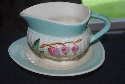 Pretty hand painted SHORTER & SON small sauce boat and stand
